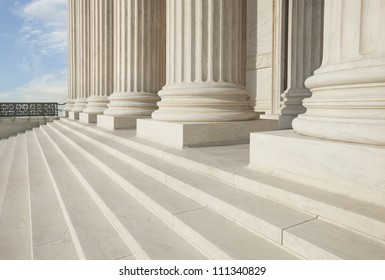 Columns and steps of the Supreme Court building in Washington DC