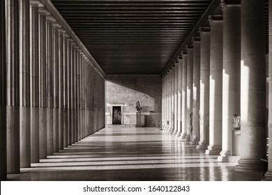 Columns in Stoa of Attalos exhibition hall in Athens, Greece.