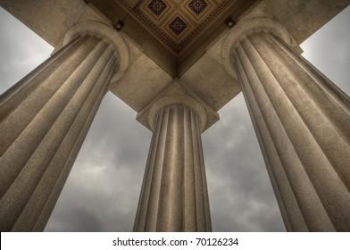 Columns supporting a replica of the Parthenon in Nashville, TN