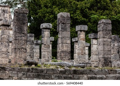 Columns in the Temple of a Thousand Warriors at the Chichen Itza archaeological area in Yucatan, Mexico.