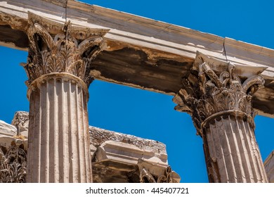 Columns in the Temple of Zeus, Athens, Greece