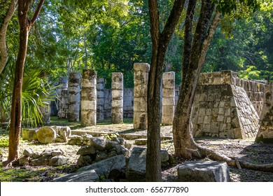 The columns in the Thousand Warriors Temple complex at Chichen Itza Mayan Ruins - Yucatan, Mexico