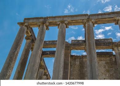 Columns of Zeus Temple at Aizonai, Anatolia, Turkey. Ancient Roman contruction.