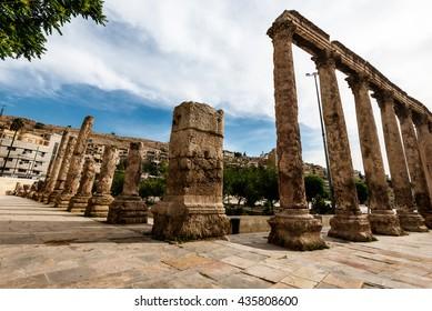 Colums at the roman amphitheatre in old city of Amman, Jordan