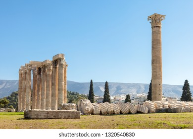 Colums of temple of Olympian Zeus in Athens, Greece