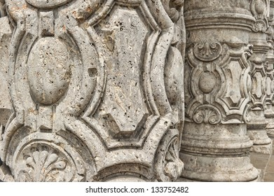 Colums texture detail, exterior of a building, Turin, Italy