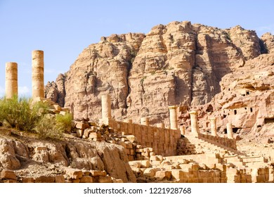 Colums at the world heritage site of Petra, Jordan