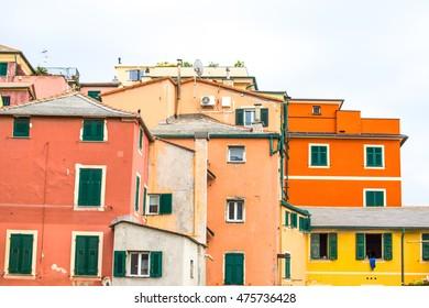 Colured houses in Genova Boccadasse Italy, Europe