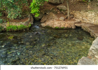 Comal Springs flow from the limestone rocks in Landa Park where many Indian artifacts have been found, New Braunfels, Texas