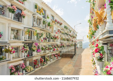 Comares cemetery with a view, Malaga, Andalusia, Spain.