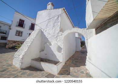 Comares, white village up on the hill of Malaga mountains, Andalusia, Spain