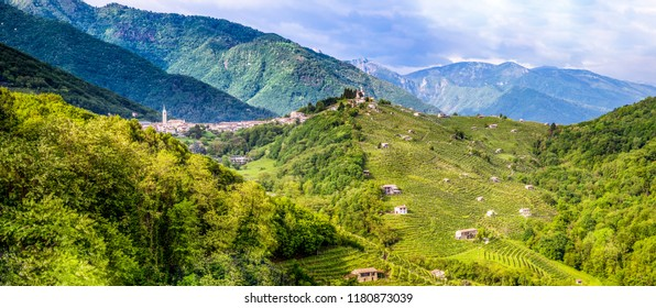 Combai village. The hills covered by vineyards are Prosecco wines. Panorama of the region with vineyards and villages of the Valdobbiadene region, Italy