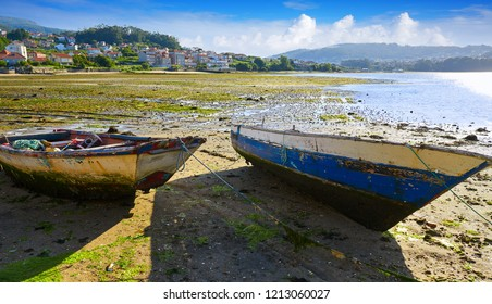 Combarro fishing boat tackle in Ria de Pontevedra at Galicia Spain