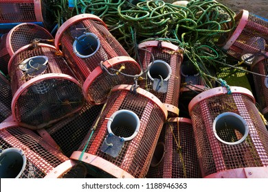 Combarro fishing tackle of boats in Pontevedra at Galicia Spain