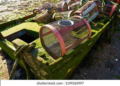 Combarro fishing tackle of boats in Ria de Pontevedra at Galicia Spain