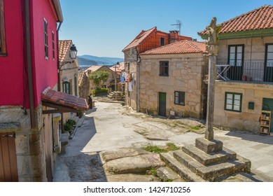 Combarro, Galicia, Spain, May 2018: strees and houses of the historical beach town Combarro