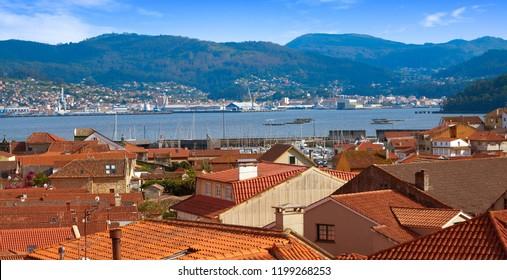 Combarro Galician village aerial in Vigo at Galicia Spain with Ria de Pontevedra