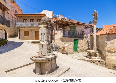 Combarro, Spain. Fountain and cross in the old town