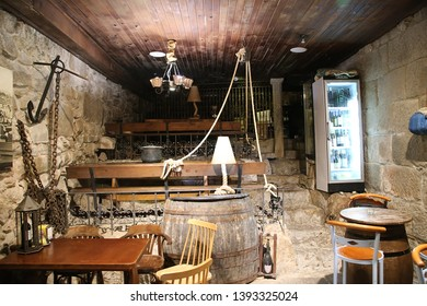 COMBARRO, SPAIN - JUN 15, 2017: The interior of the fishing cafe