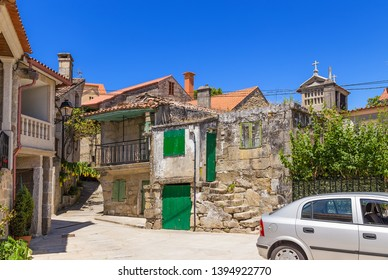 COMBARRO, SPAIN - JUN 15, 2017: scenic view of the old town with a traditional horreo barn