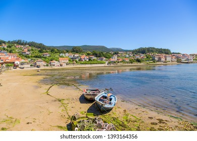 Combarro, Spain. Picturesque landscape with fishing boats on the shore