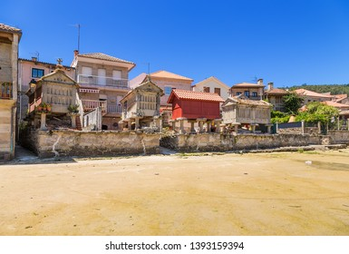 Combarro, Spain. Traditional horreo barns on the seafront