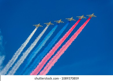 Combat aircraft of the air force in the air parade
