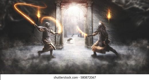 Combat between two fantasy samurai
