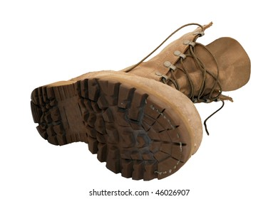 Combat Boot laying on ground, isolated