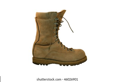 Combat boot single viewed from side