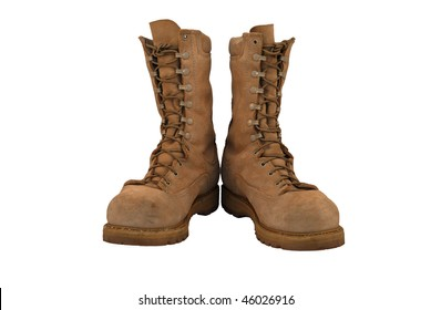 Combat boots, laced and tied