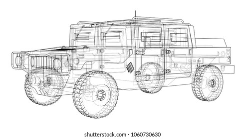Armored wire images stock photos vectors shutterstock combat car blueprint 3d illustration wire frame style malvernweather Gallery