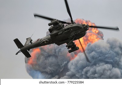 Combat helicopter provides air support.