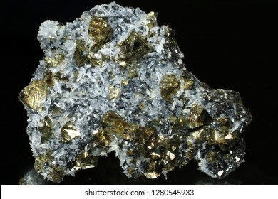 Combi mineral, fool's gold Chalcopyrite with Quartz crystals and Sphalerite from Krushev dol mine, Madan ore field, Smolyan Oblast, Bulgaria