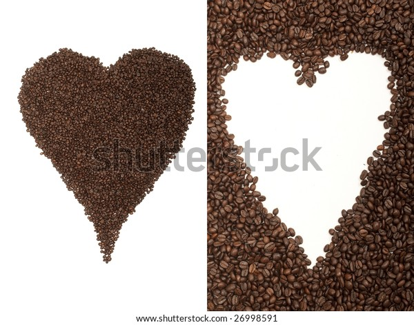 Combination of 2 shots of coffee beans arranged in the shape of a heart