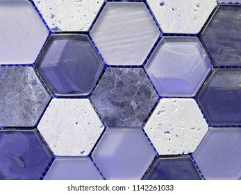 combination of glass and stone hexagons in purple tones, wall design material