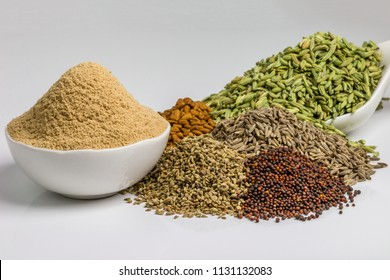 Combination of indian spices - Amchoor powder, Fennel seeds, Fenugreek, Black Mustard seed, Ajwain, Cumin seeds