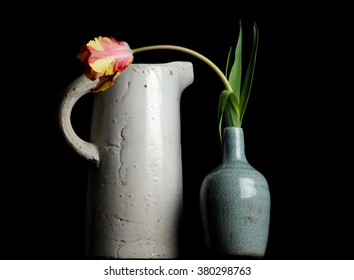 Combination of a large white jag with a small blue vase