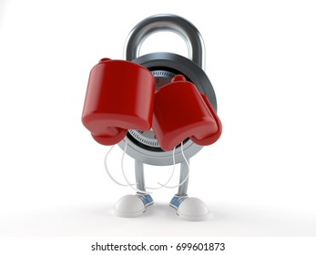 Combination lock character with boxing gloves isolated on white background. 3d illustration