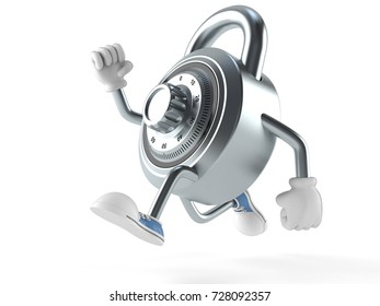 Combination lock character runing on white background. 3d illustration