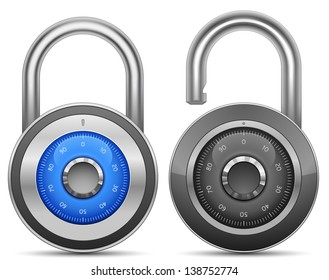 Combination Lock Collection. Security Concept. Raster version