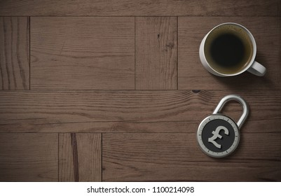 A combination lock is locked with a British Pounds sterling sign indicating protected money and peace of mind with coffee on a wooden table with copy space as 3d rendering.
