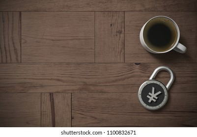 A combination lock is locked with a Chinese Yuan or Japanese Yen sign indicating protected money and peace of mind with coffee on a wooden table with copy space as 3d rendering.