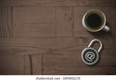 A combination lock is locked with an email at-sign indicating protected personal information and peace of mind with coffee on a wooden table with copy space as 3d rendering.