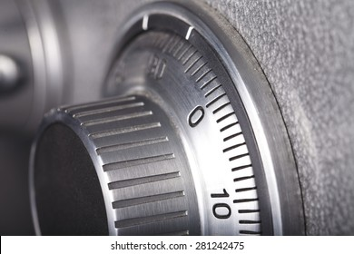 combination lock on the safe closeup gray
