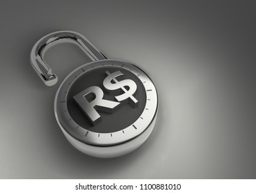 A combination lock is unlocked with an Brazil Real sign representing unsecured vulnerable money as 3d rendering.