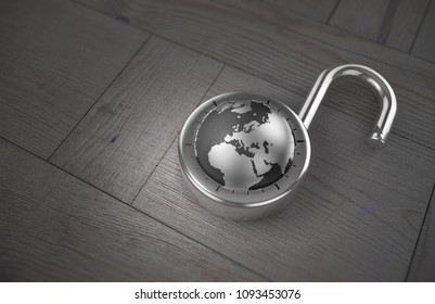 A combination lock is unlocked with the Earth as its focus, specifically Europe, indicating access to trade and commerce, on a wooden table as 3d rendering.