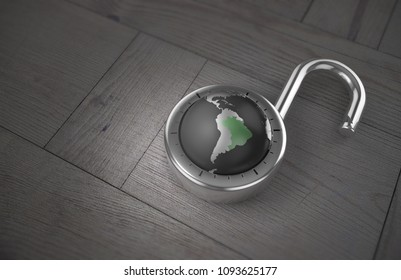 A combination lock is unlocked with the Earth as its focus, specifically Brazil, indicating access to trade, tourism and commerce as 3d rendering.