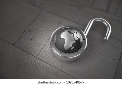 A combination lock is unlocked with the Earth as its focus, specifically Africa, indicating access to trade and commerce as 3d rendering.