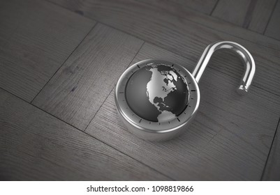A combination lock is unlocked with the Earth as its focus, specifically the USA, Canada and Mexico, indicating access to trade and commerce, on a wooden table as 3d rendering.